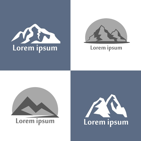 Mountains illustration set. Mountain relief view of nature as a silhouette for badges and log types, retro style. Illustration