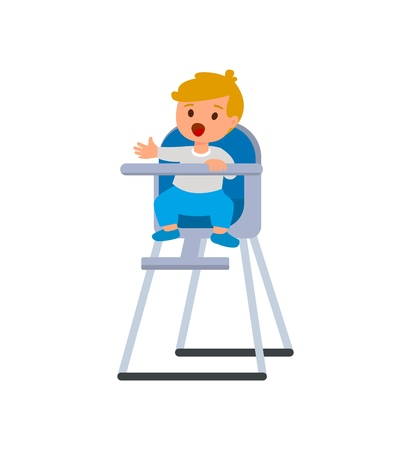 Enfant garçon en chaise haute pour bébé avec assiette de bouillie. Illustration de dessin animé de vecteur isolé sur fond blanc Vecteurs
