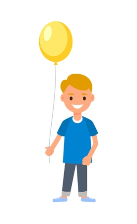 Children's festival. Cartoon boy holding gift box and a balloon. congratulations on the birthday, new year, mothers day. Holiday background. vector illustration isolated on white background Foto de archivo - 126734478