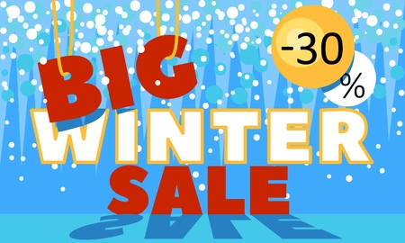 Winter sale banner. Promotional promotions banners for New Year holiday discounts and sales. Vector illustration. Illustration
