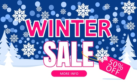 Winter sale banner. Promotional promotions banners for New Year holiday discounts and sales. Vector illustration.  イラスト・ベクター素材