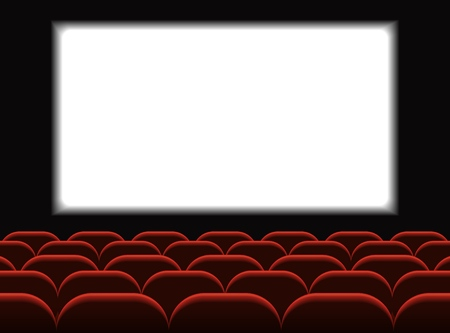 Film Kino. Kinosaal mit Sitzgelegenheiten. Premiere-Poster-Design mit weißem Bildschirm. Vektor-Hintergrund. Vektorgrafik