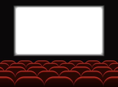 Kino filmowe. Sala kinowa z miejscami do siedzenia. Premierowy projekt plakatu z białym ekranem. Tło wektor. Ilustracje wektorowe