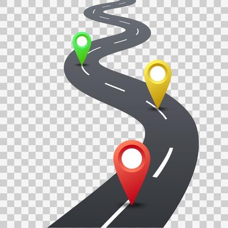 Carretera con punteros de color. Infografía vectorial