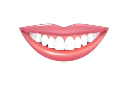 Smile with beautiful white teeth. Realistic Vector Lips with Teeth Standard-Bild - 123169227