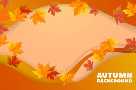 Vector autumn background with leaves. Back to school. Vector illustration. Autumn background with waves and shadow, origami effect. Promotional template for discounts and sales.  イラスト・ベクター素材