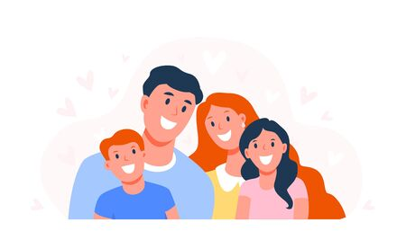 Happy family. Parents with children. Dad, mom and son and daughter are smiling. Happy faces of family members. Flat vector illustration isolated on white background Иллюстрация