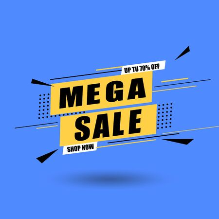 Sale banner vector illustration. Discounts and promotional Mega sale offers design template. Promotional offer web banner