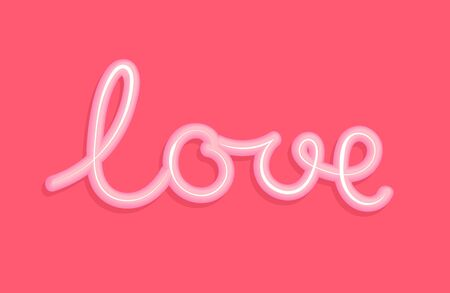 Love. The word love in the form of a cream. Vector Love 3d realistic with shadow on pink background Illustration