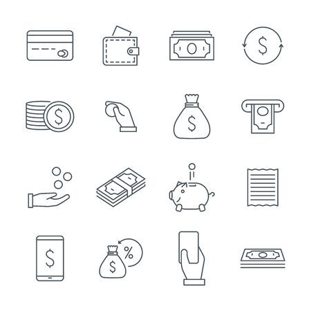 Linear money icons set. Money and coins, a bag of money and a piggy bank Иллюстрация