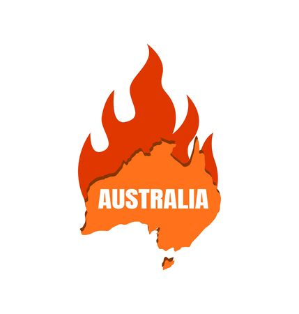 Continent Australia on fire. Map of Australia with fire flame, fire on the continent. Illustration