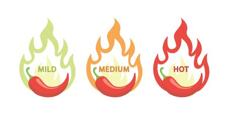 Spicy chili hot pepper, food spice level, spiciness level. Vector red pepper with flame fire icons.