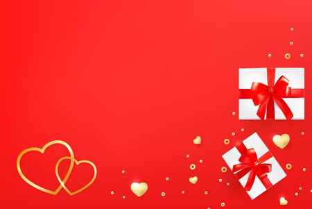 Greeting card template with hearts, gift boxes and shining beads. Valentines day, wedding background.