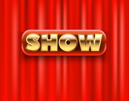 Show on Red curtain scene. 3D realistic curtain curtain on the stage of the theater. Vector illustration Иллюстрация