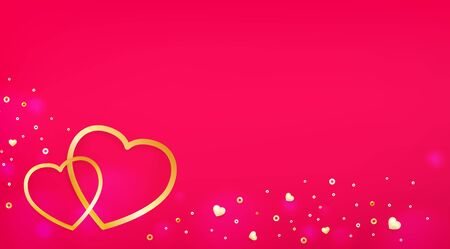 Postcard template with hearts, luminous beads. Valentines day background. Иллюстрация
