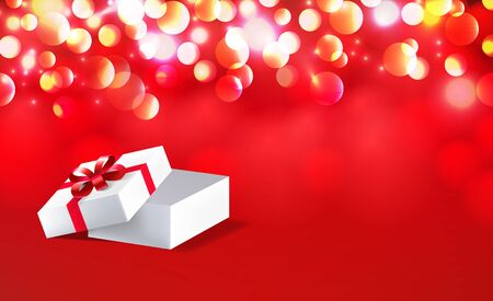 Open gift box with red bow ribbon isolated on on red bokeh background. Vector illustration