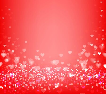 Hearts bokeh background. Red festive background with bokeh. Vector illustration.