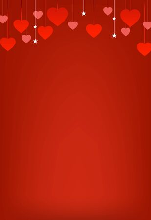 Horizontal banner with many red hanging hearts on red background. Vector decorative hearts with for greeting cards Valentines day.