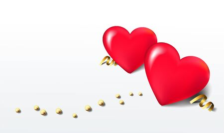 3d hearts balloons with golden beads on white background. Greeting card template
