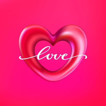 3d shiny foil balloon heart shape labeled love lettering. Vector illustration
