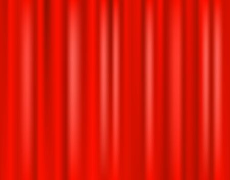 Red curtain scene. 3D realistic curtain curtain on the stage of the theater. Vector illustration. Иллюстрация