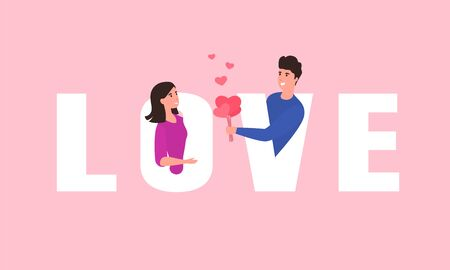 Guy gives the girl a bouquet of hearts. Valentine's day concept. From letters love couple. Vector illustration.
