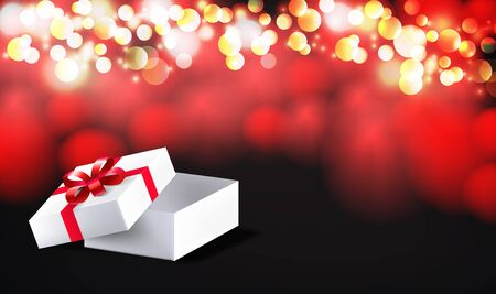 Open gift box with red bow ribbon isolated on on red bokeh background. Vector illustration eps 10. Иллюстрация