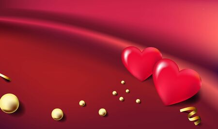 3d hearts balloons with golden beads on beautiful fabric background. Greeting card template.