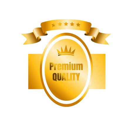 Gold badge emblem with curving ribbon. Icon of premium and high quality product. Vector isolated on white background.