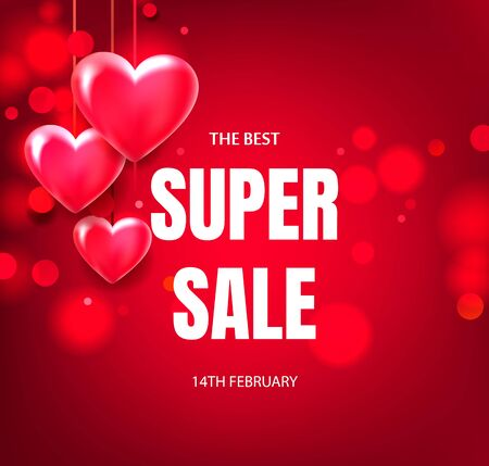 Volumetric red hearts hang advertising banner or poster Valentines Day, wedding. Design of discount banner for sale.