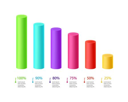 3d Bar chart, graph diagram color cylinder statistical business infographic vector illustration.
