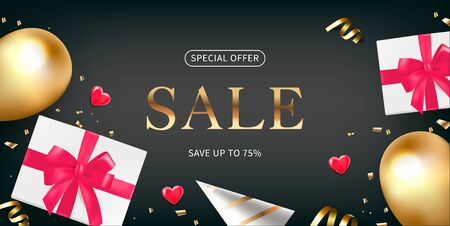 Valentine day flyer design with sale. Flat lay balloons, hearts and gift boxes on a dark background. Иллюстрация