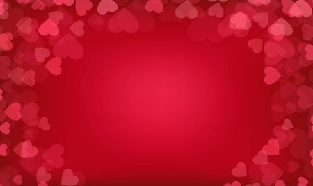 Valentine day, wedding, love postcard. Romantic background with red hearts and bokeh.