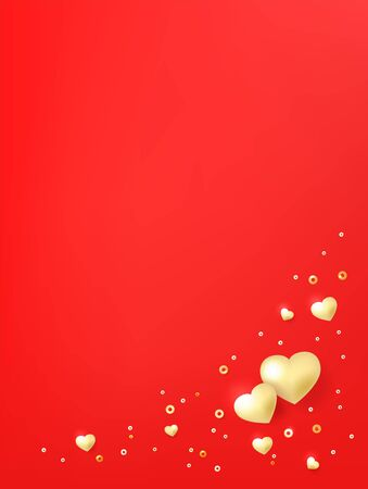 Postcard template with hearts, luminous beads. Valentines day background Иллюстрация