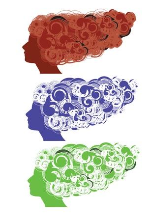 Funky Hair Vector Illustration
