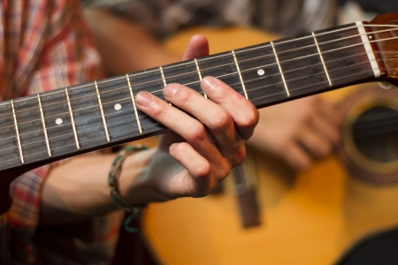 country music: Hand playing guitar  Stock Photo