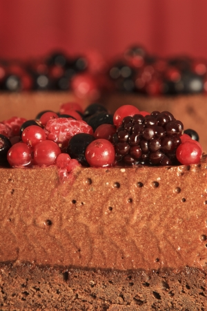 Chocolate mousse cake and berries detail Stock Photo - 19586984