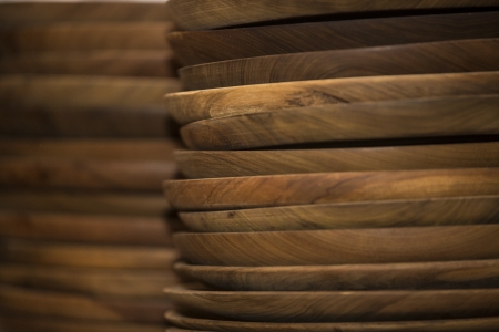 Piles of wooden plates  photo