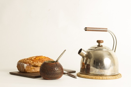 Detail of mate and yerba mate, traditional beverage
