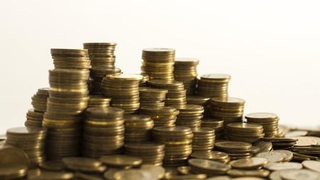 Piles of coins  Capitalism, cash, money dolar  photo