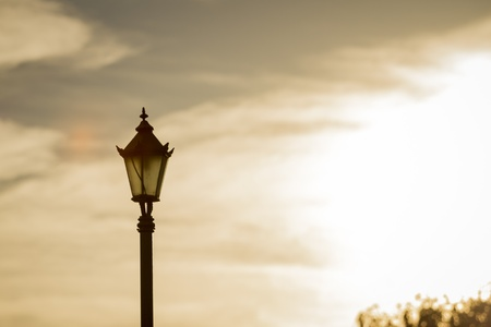 san isidro: Sunset old fashioned light in park  Stock Photo