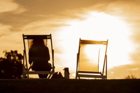 recliner: Sunset, chair and people  Empty space