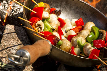 Brochette with red and green peppers, onion, chicken, mushroom on the fire  photo