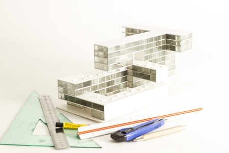 New modern project of building model and drawings photo