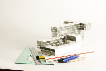 property development: New modern project of building model and drawings