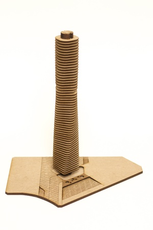 substructure: Architecture model of an skyscraper in wood isolated  Several levels stories