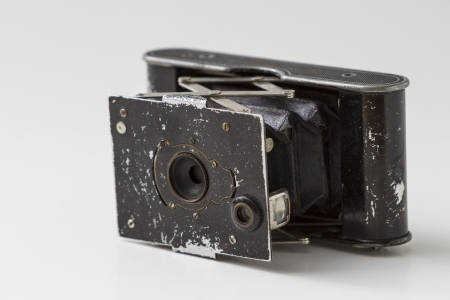 Antique Old photo Camera isolated on white Stock Photo - 20915798
