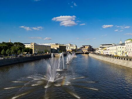 The fountains in a river at a sunny day in Moscow.