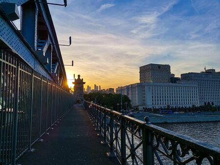 Walking over the river and seeing this nice sunset from the bridge.