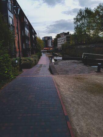 A dark walking path in Birmingham Stok Fotoğraf